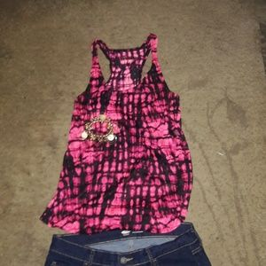 ARIZONA JEAN CO COTTON BLACK/PINK MUSCLE T